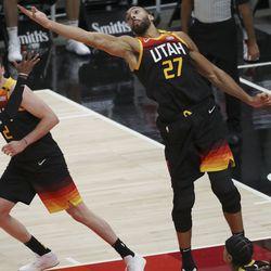 Utah Jazz center Rudy Gobert (27) grabs a rebound in Salt Lake City on Saturday, Dec. 26, 2020.