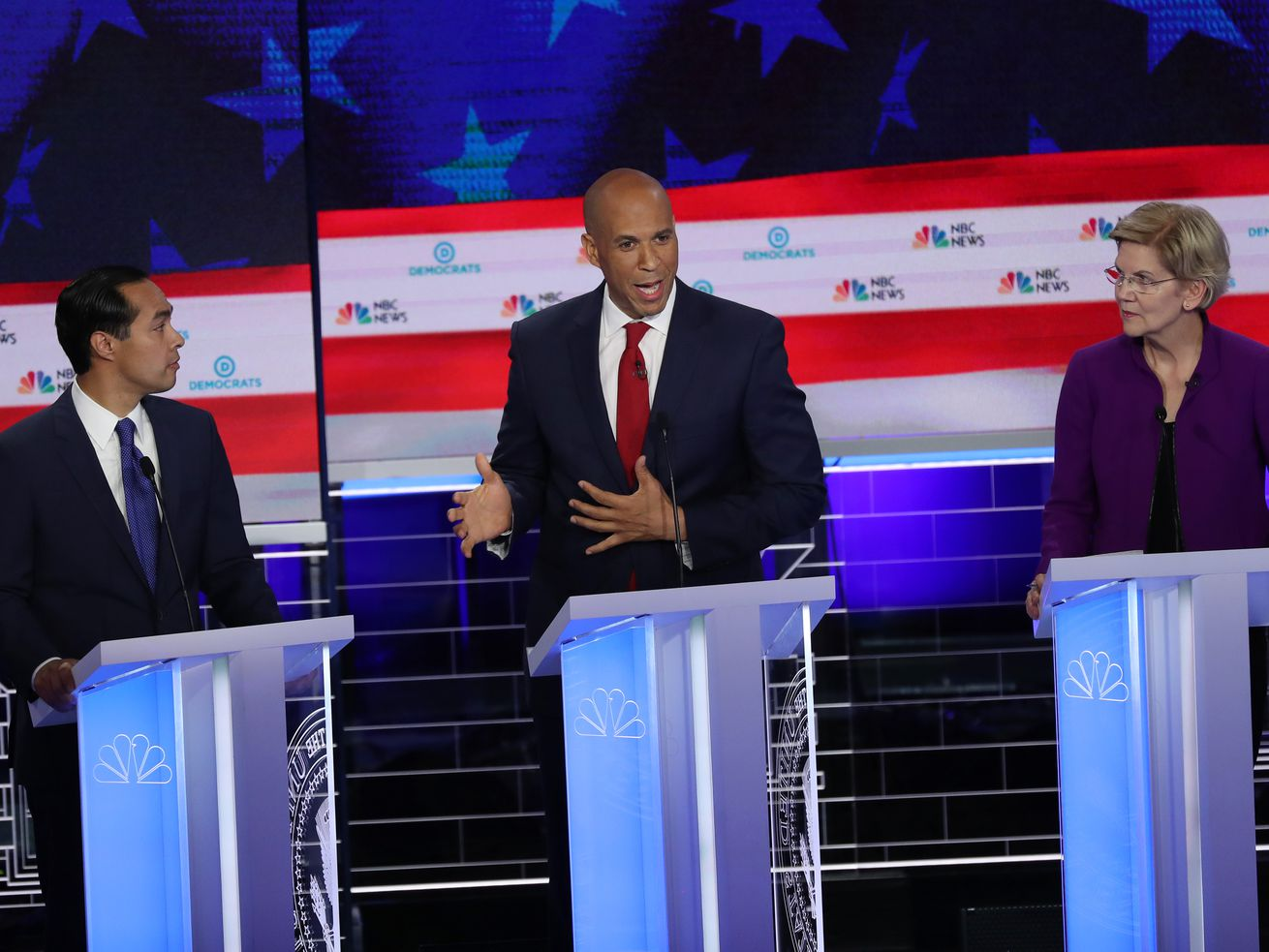 On the first night of the Democratic debate, former Housing and Urban Development Secretary Julián Castro and Sen. Cory Booker were two of a handful of candidates to talk about race and racism.