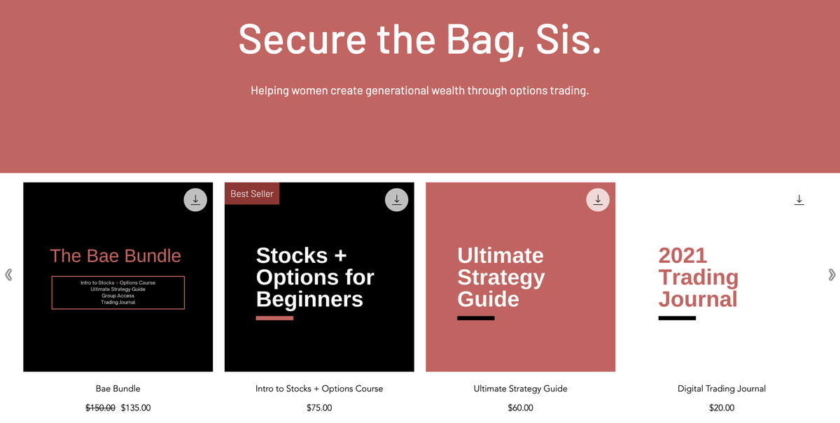 """A website reading """"Secure the Bag, Sis. Helping women create generational wealth through options trading."""" The page shows several course options including """"Bae Bundle,"""" """"Stock and Options for Beginners,"""" and """"Ultimate Strategy Guide,"""" with prices reaching up to 5."""