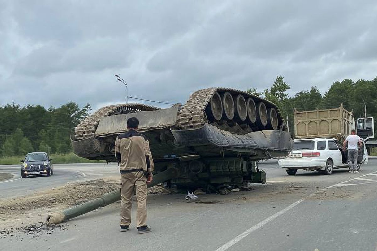 Overturned tank on federal road in Russia's Sakhalin Region