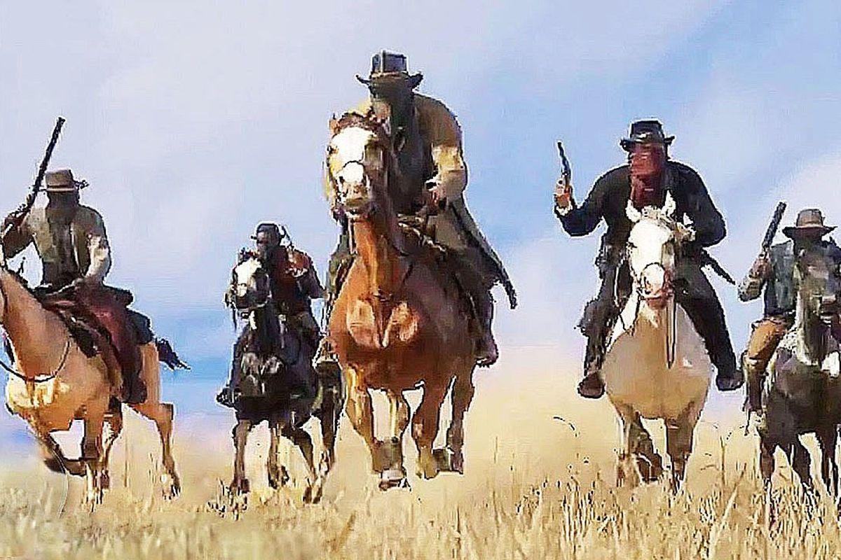 Red Dead Redemption 2 - the Van der Linde Gang on horseback