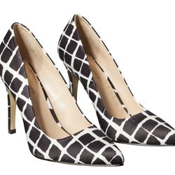 Pointed-Toe Pump in Black/White Plaid, $39.99