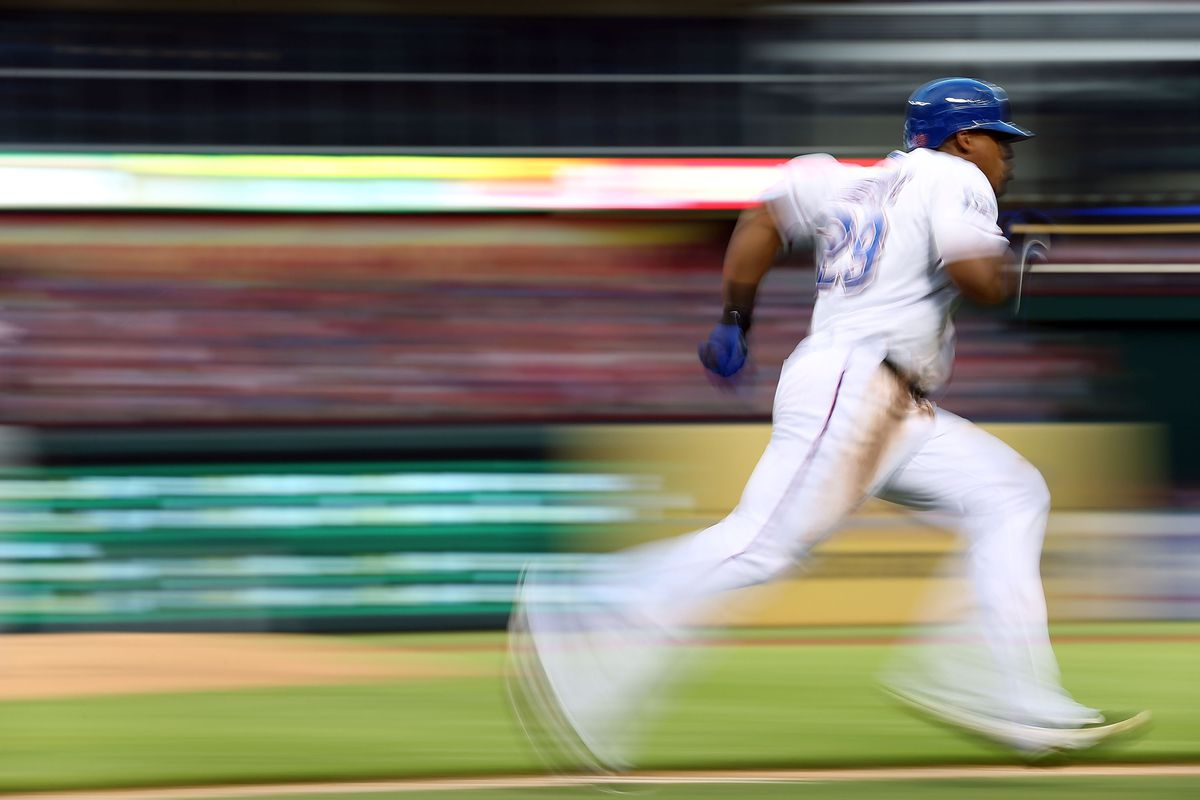 ARLINGTON, TX - AUGUST 24:  Adrian Beltre #29 of the Texas Rangers runs after hitting a triple against the Minnesota Twins at Rangers Ballpark in Arlington on August 24, 2012 in Arlington, Texas.  (Photo by Ronald Martinez/Getty Images)
