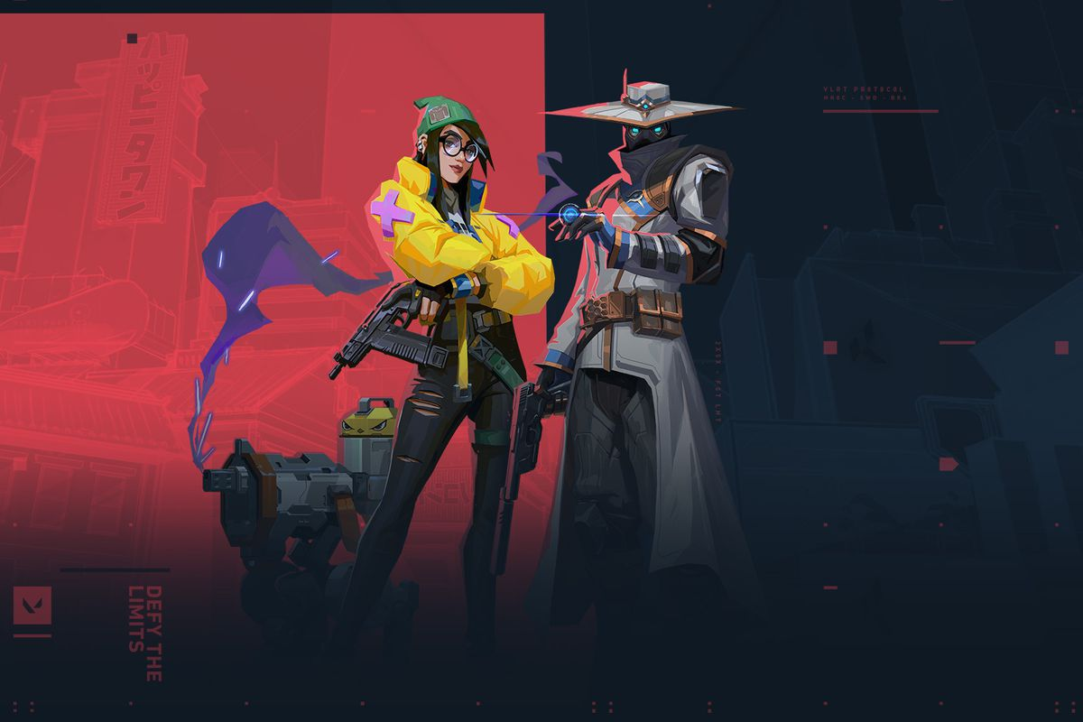 Omen and Killjoy stand in front of a background with the Valorant colors