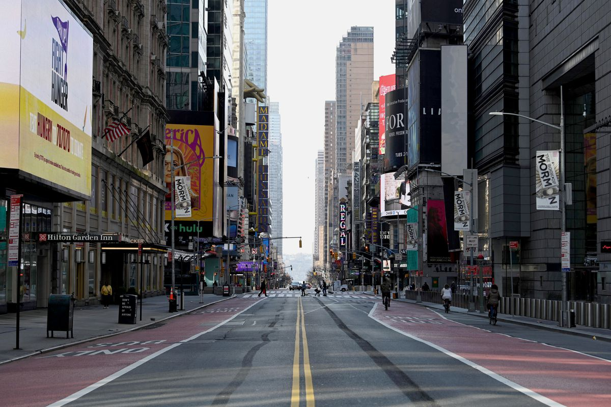 A view looking west along an empty 42nd Street near Times Square amid the coronavirus pandemic on April 12, 2020 in New York City, United States.