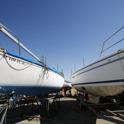Boats that are in dry dock after being pulled from the Great Salt Lake marina on Friday, Sept. 2, 2016. The marina was last dredged in 2008 and needs to be dredged another 5 feet.