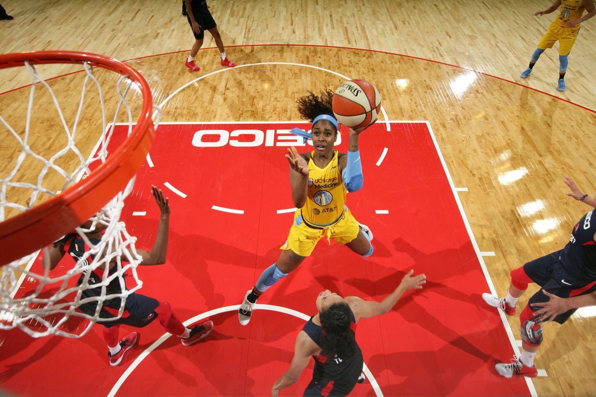 Sky forward Cheyenne Parker attempts a field goal against the Washington Mystics on Wednesday, June 5 at the Entertainment and Sports Arena in Washington DC.