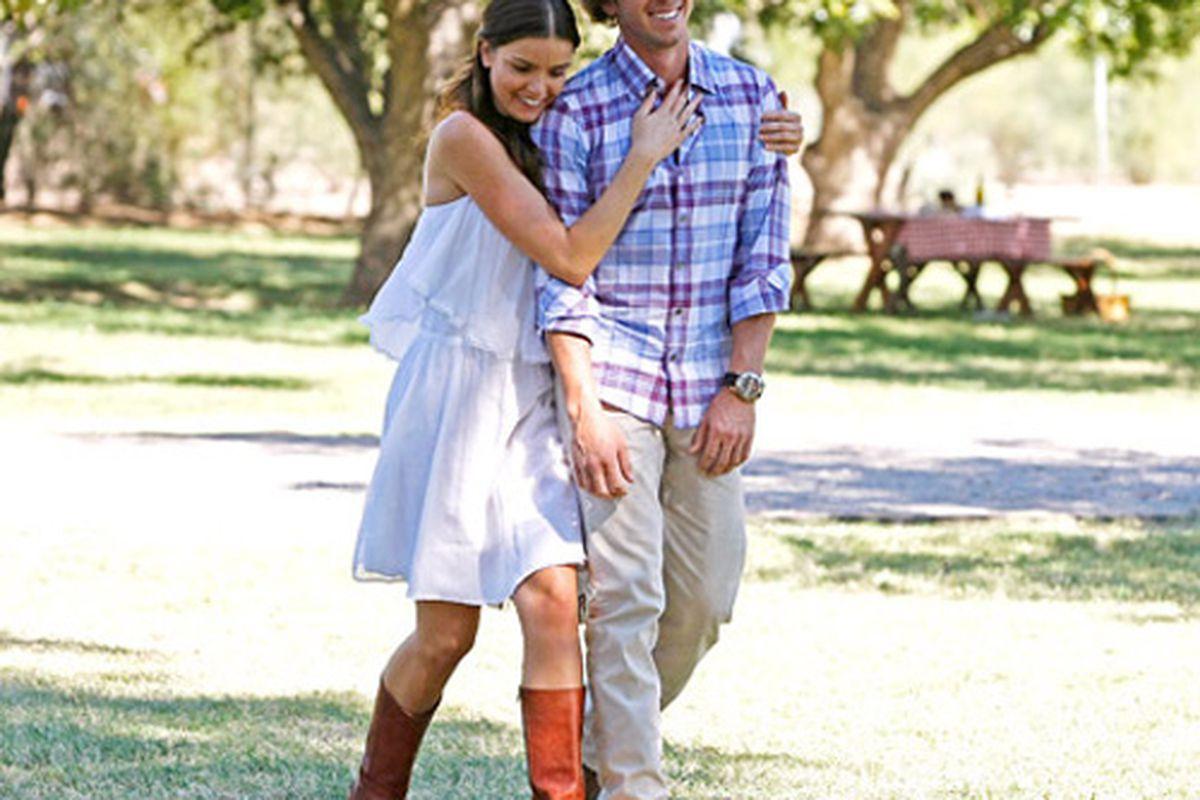 "Courtney and Ben on The Bachelor. Photo via <a href=""http://www.usmagazine.com/celebrity-style/news/the-bachelors-courtney-her-maneater-style-secrets-2012222"">US</a>."