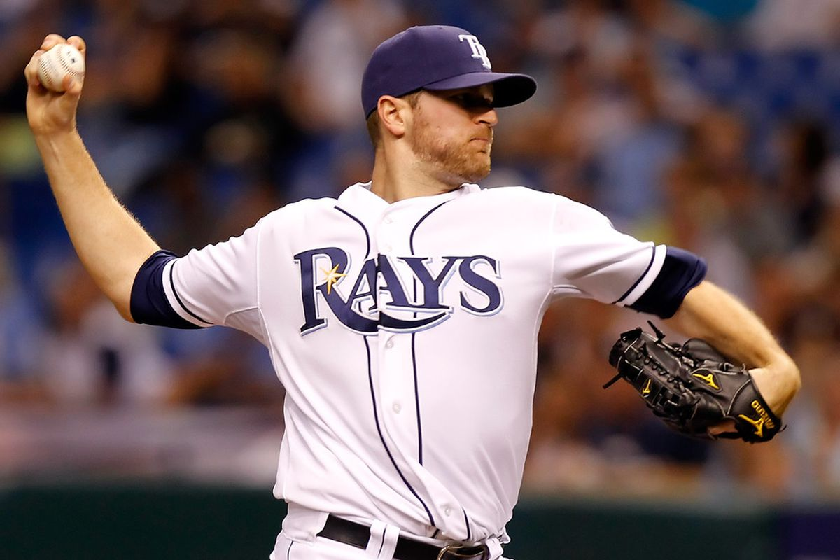 ST PETERSBURG, FL - MAY 14:  Pitcher Wade Davis #40 of the Tampa Bay Rays pitches against the Baltimore Orioles during the game at Tropicana Field on May 14, 2011 in St. Petersburg, Florida.  (Photo by J. Meric/Getty Images)