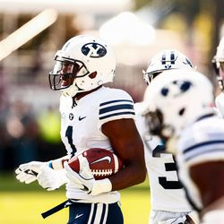 BYU wide receiver Akile Davis (1) walks off the field after recovering a fumble on a kickoff against Mississippi State at Davis Wade Stadium in Starkville, Miss., on Saturday, Oct. 14, 2017.