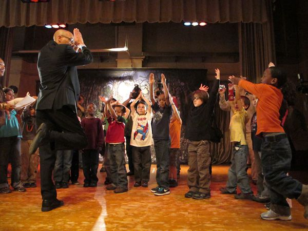 Chancellor-designee Dennis Walcott joined P.S. 261 first graders for a dance and movement class.
