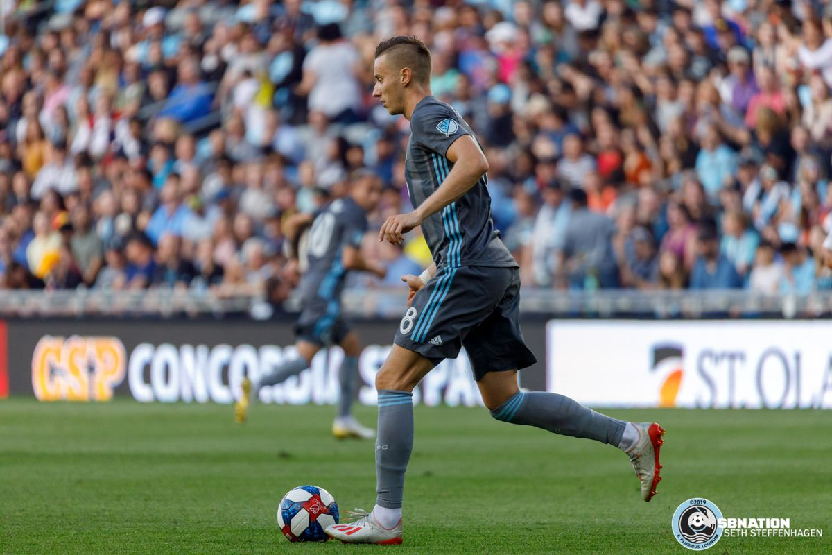 July 10, 2019 - Saint Paul, Minnesota, United States - Minnesota United midfielder Ján Greguš (8) dribbles the ball during the quarter-final match of the US Open Cup between Minnesota United and New Mexico United at Allianz Field.