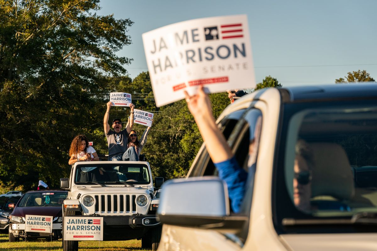 Democratic Challenger To Lindsey Graham, Jaime Harrison Holds Drive-In Campaign Event