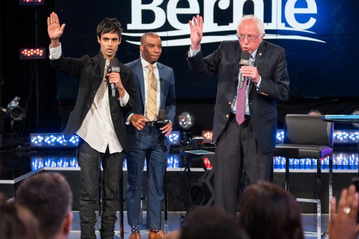REVOLT's Amrit Singh, Chris Prudhome (Vote America Now) and Bernie Sanders.