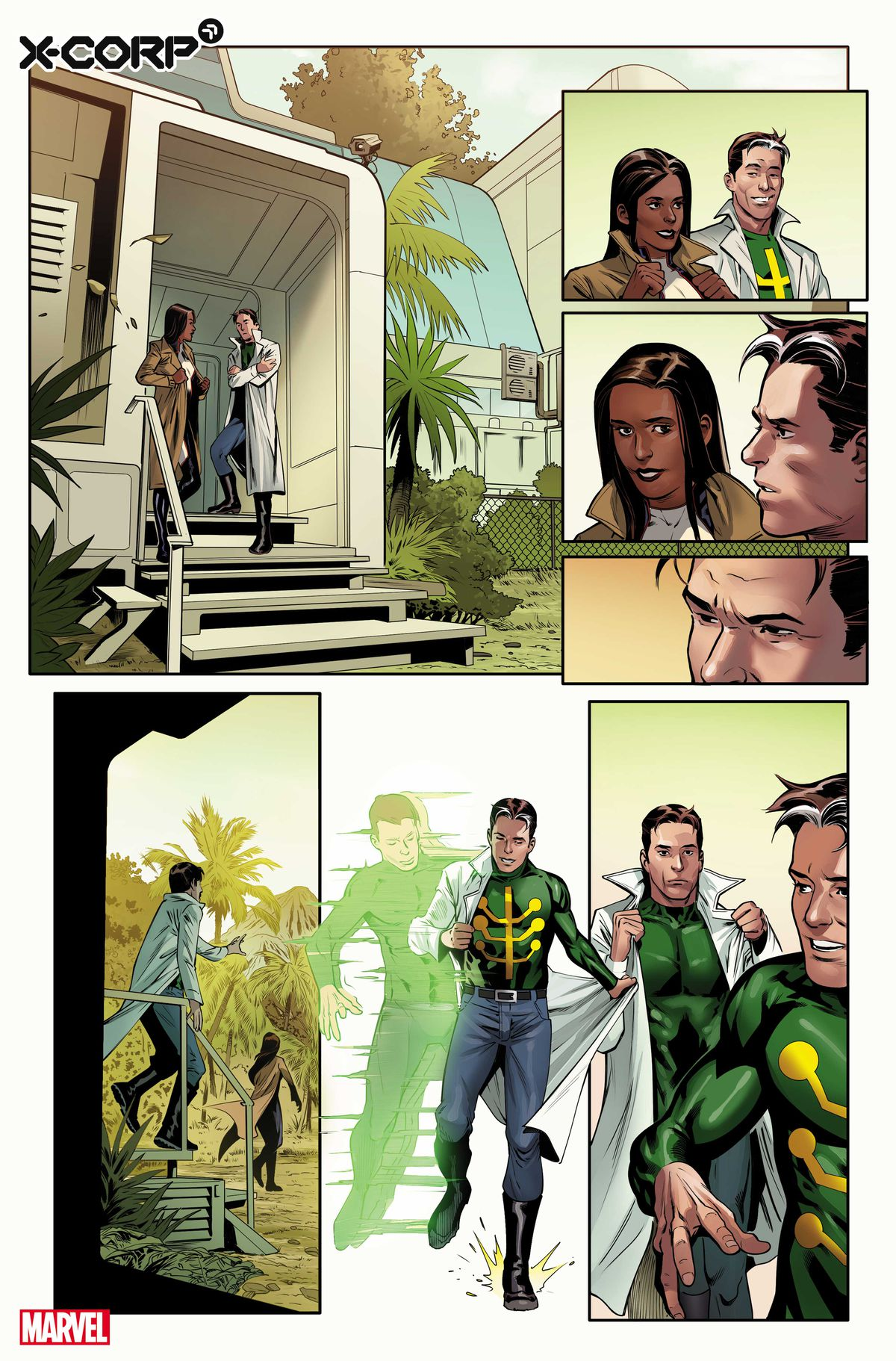 Monet St. Croix meets with Jamie Madrox, the multiple man in preview art for X-Corp # 1, Marvel Comics (2021).