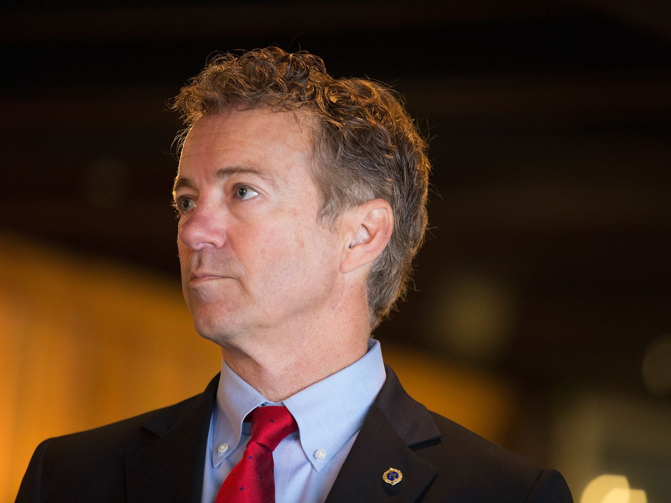 Senator Rand Paul (R-KY) speaks to guests at a campaign event at Bloomsbury Farm on April 25, 2015 in Atkins, Iowa.