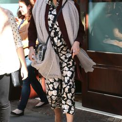 In a puppy-print (!) top and pants by Michelle Kim, a Suss shawl, and a Collina Strada bag on October 18th, 2014.