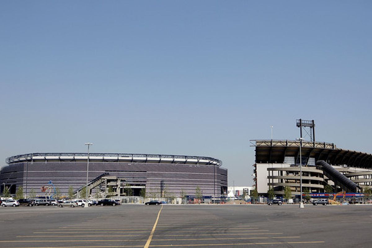 EAST RUTHERFORD, NJ - MAY 25:  Demolition continues at Giants Stadium, adjacent to the New Meadowlands Stadium on May 25, 2010 in East Rutherford, New Jersey.  (Photo by Jeff Zelevansky/Getty Images)