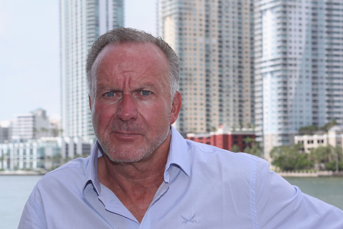 MIAMI, FL - JULY 27: CEO of FC Bayern Muenchen Karl-Heinz Rummenigge poses in front of the skyline during the FC Bayern AUDI Summer Tour on July 27, 2018 at Mandarin Oriental hotel in Miami, Florida.