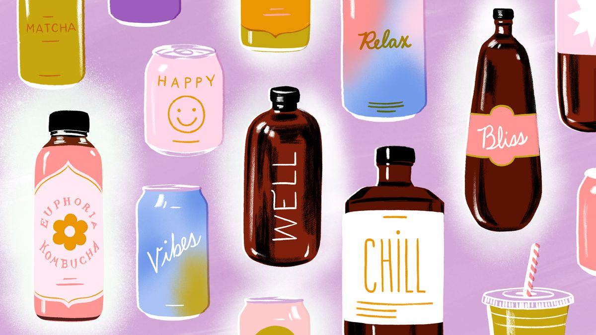 A variety of beverages in bottles and cans that promise chill vibes