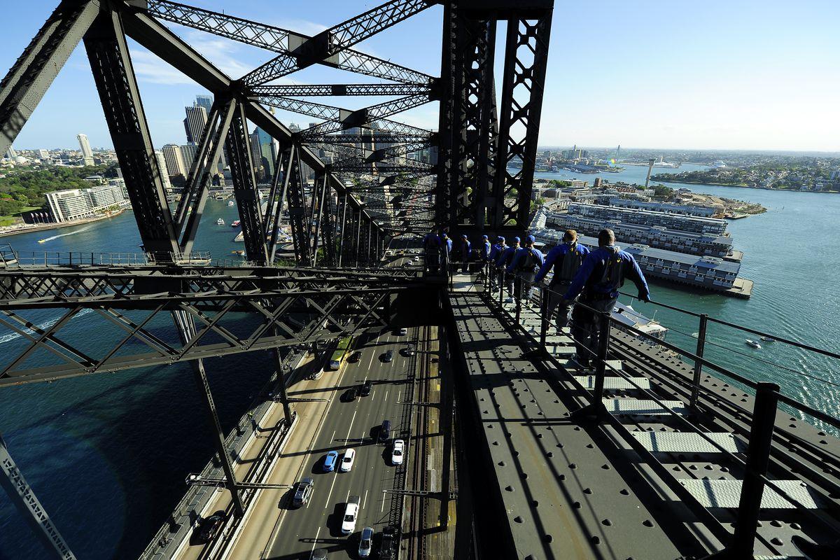 The view from the Sydney Harbor Bridge Skywalk