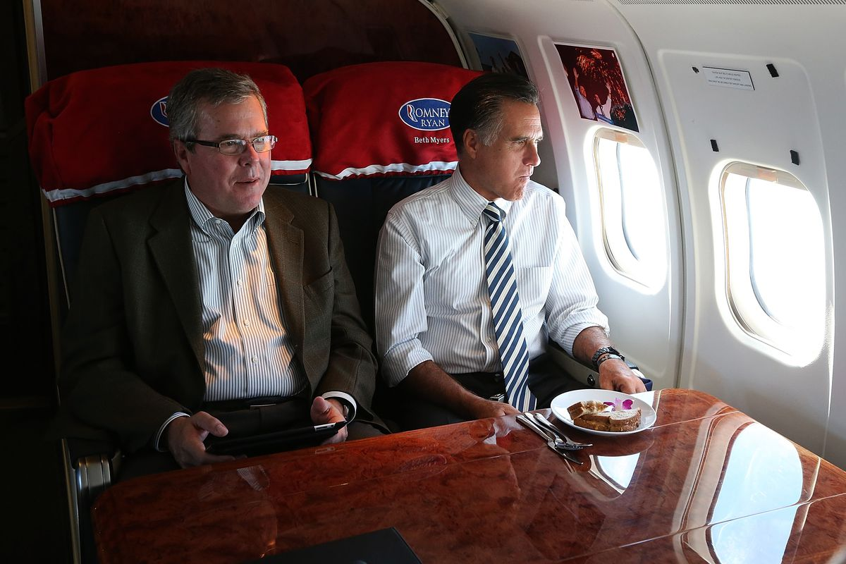 Jeb Bush and Mitt Romney, on Romney's campaign plane in 2012.