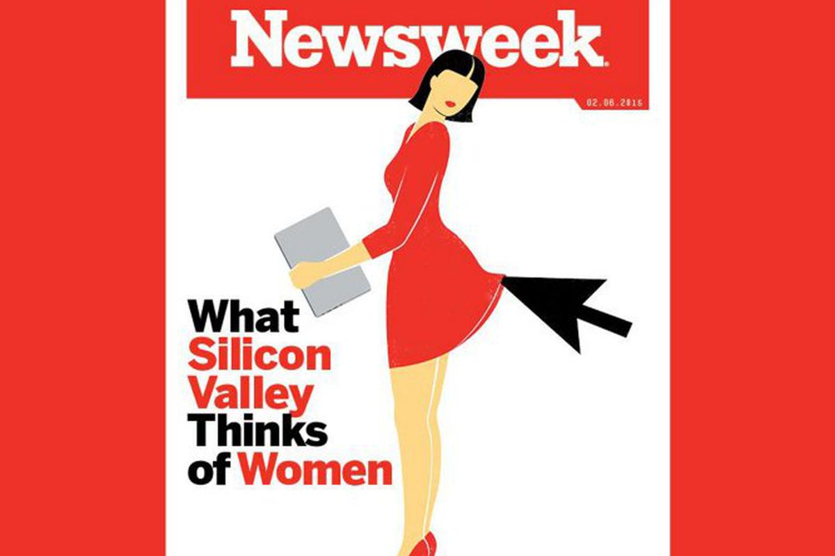 """Cover <a href=""""http://www.thedailybeast.com/articles/2015/01/29/is-newsweek-s-red-heels-cover-image-sexist.html"""">via</a> The Daily Beast"""