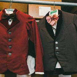 Two costumes worn during the party scene. Children, usually around 10, tend to spend about three years performing in the party scene before they become too tall for the roles.