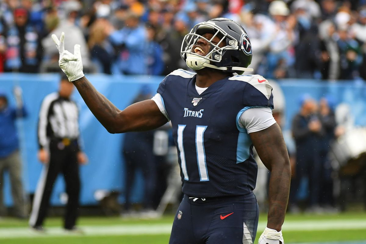 Tennessee Titans wide receiver A.J. Brown celebrates after a touchdown during the first half against the New Orleans Saints at Nissan Stadium.