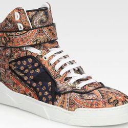 "<b>Givenchy</b> High Top Sneakers in Multi, <a href=""http://www.saksfifthavenue.com/main/ProductDetail.jsp?FOLDER%3C%3Efolder_id=2534374306561744&PRODUCT%3C%3Eprd_id=845524446552113&R=884312128627&P_name=Givenchy&N=306561744&bmUID=k1LgLRO"">$595</a> at Sak"
