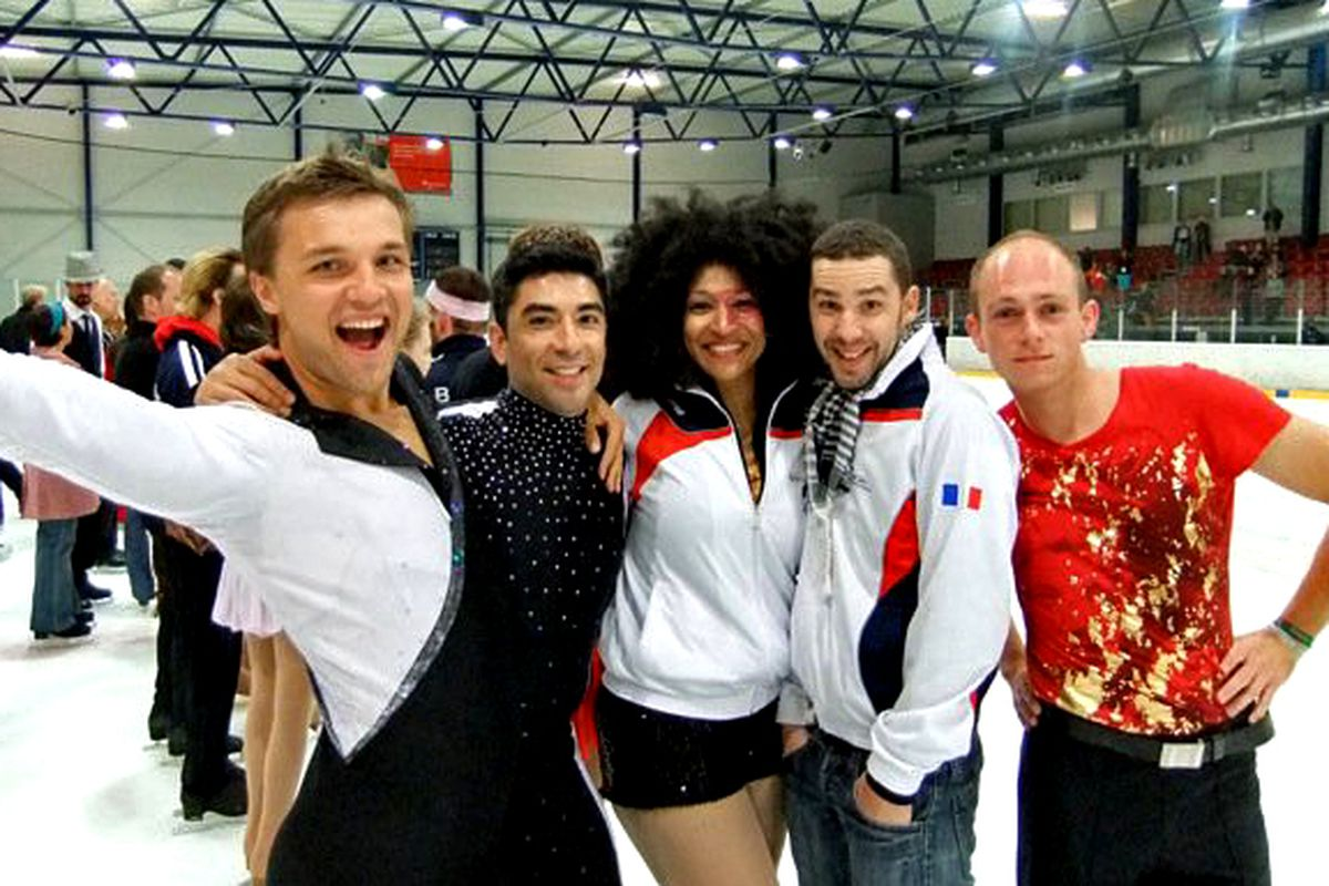 Konstantin Yablotskiy (left) at the 2010 Gay Games with other figure skaters
