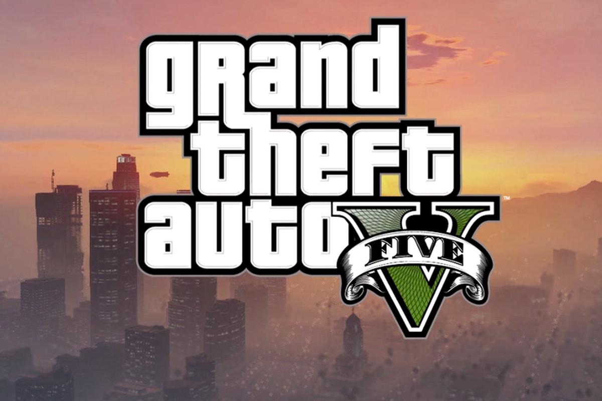 Grand Theft Auto V logo with background