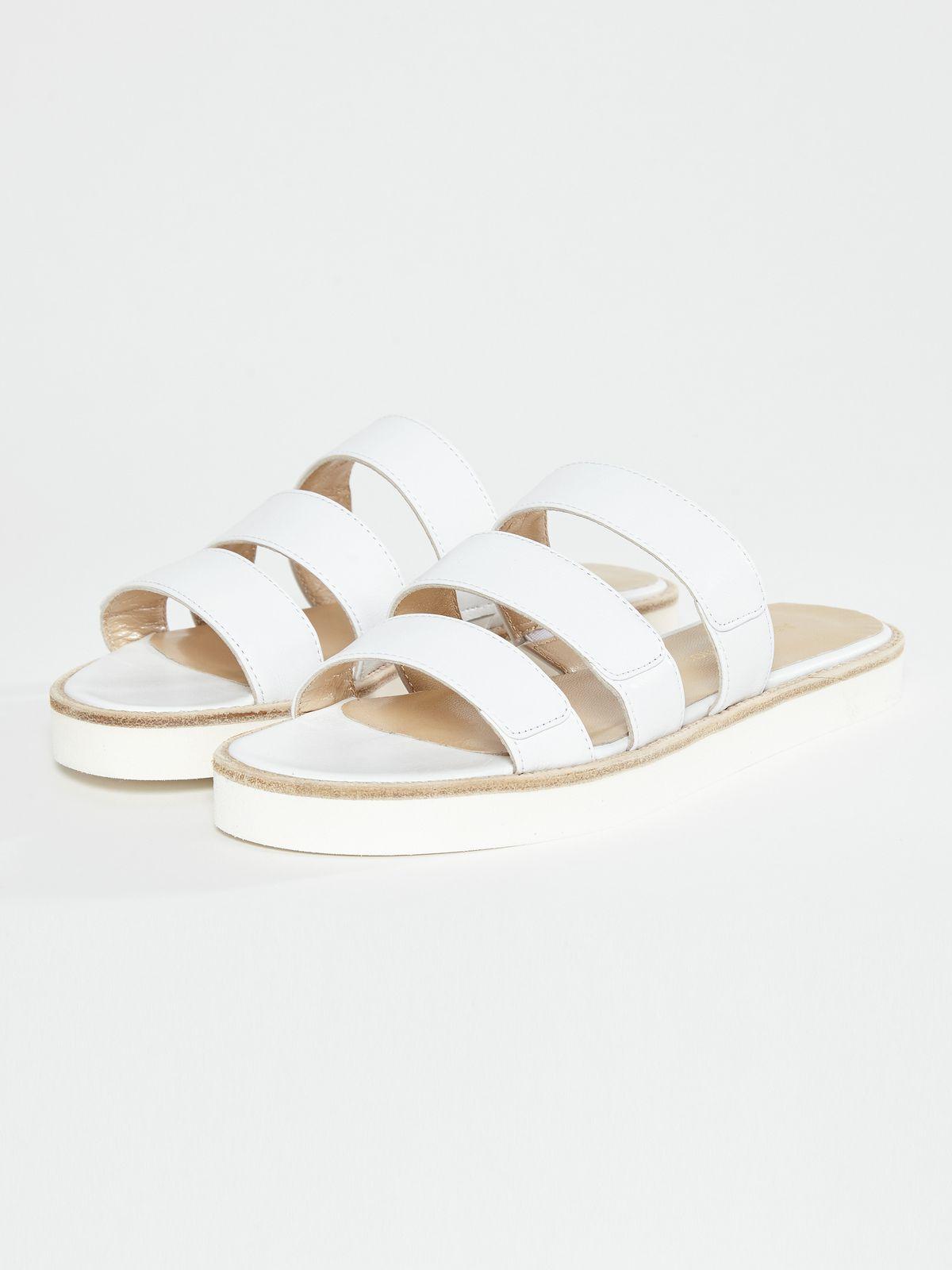 Concrete+Water White Slide Sandals
