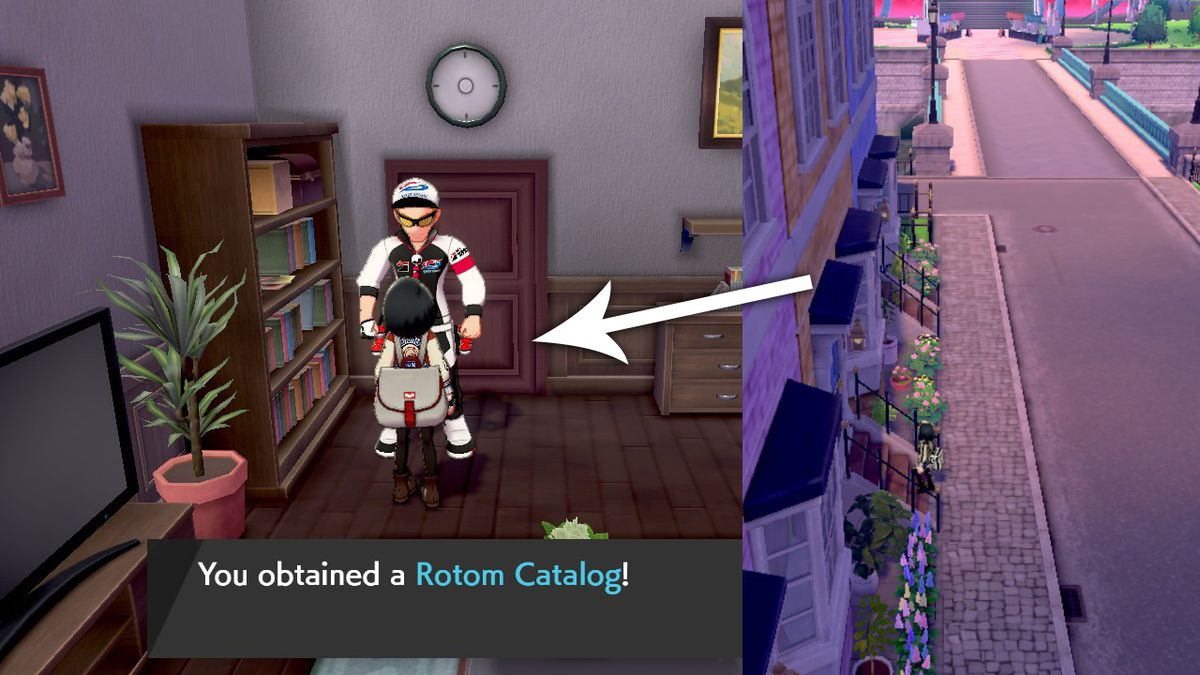 A man in an orange house in Wyndon will reward the player with a Rotom Catalog.