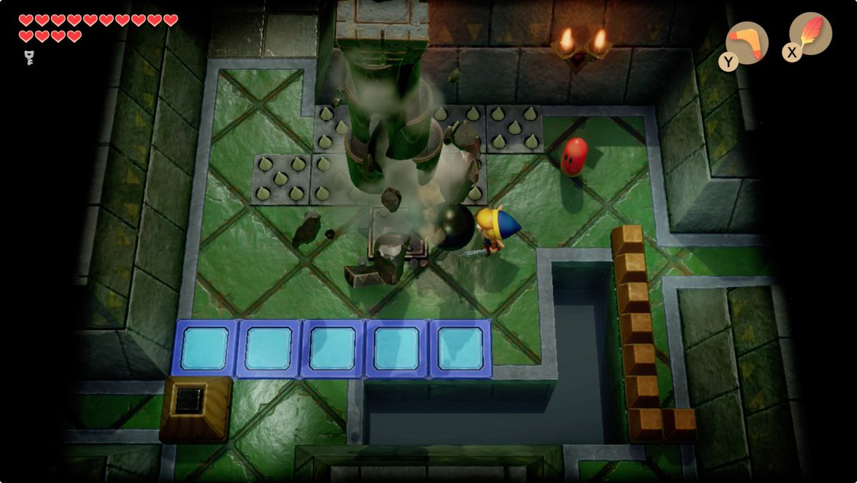 Link's Awakening Eagle's Tower destroy the first pillar