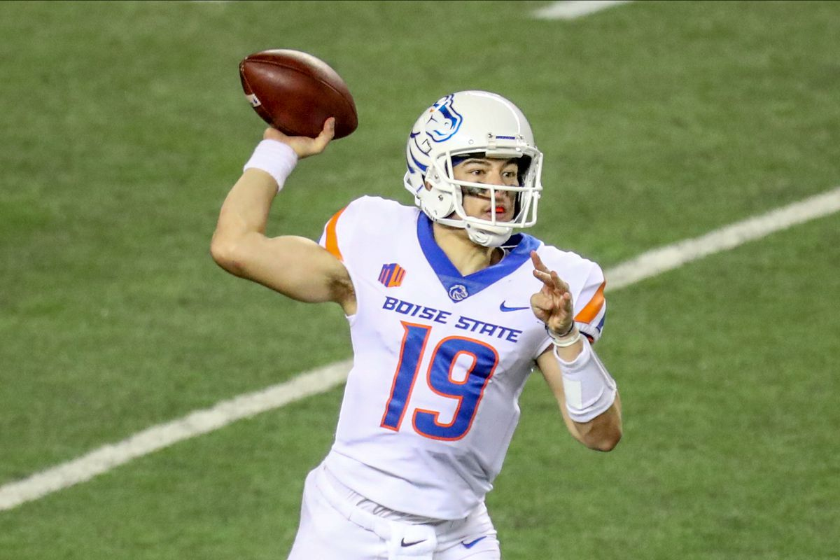 Hank Bachmeier of the Boise State Broncos fires a pass downfield during the second half against the Hawaii Rainbow Warriors at Aloha Stadium on November 21, 2020 in Honolulu, Hawaii.