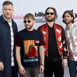 Dan Reynolds, from left, Ben McKee, Daniel Platzman and Daniel Wayne Sermon, of Imagine Dragons, arrive at the Billboard Music Awards at the T-Mobile Arena on Sunday, May 21, 2017, in Las Vegas.