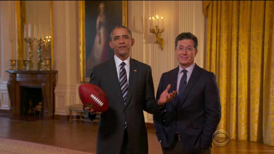 Obama and Colbert.