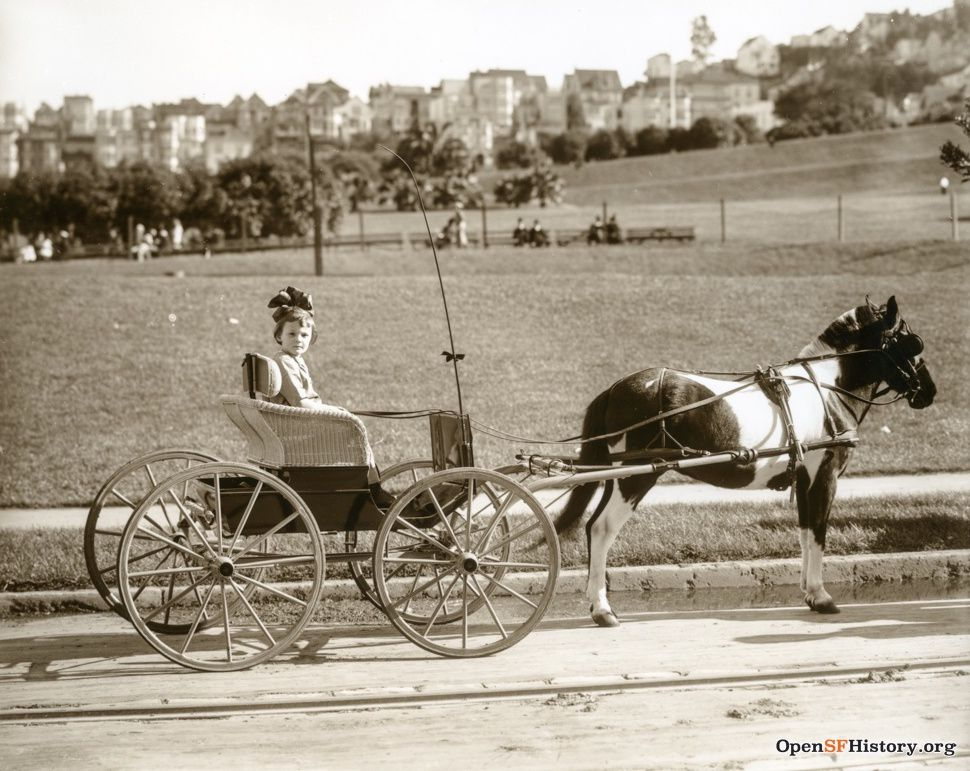 1915: Little girl with a big bow in a pony cart.