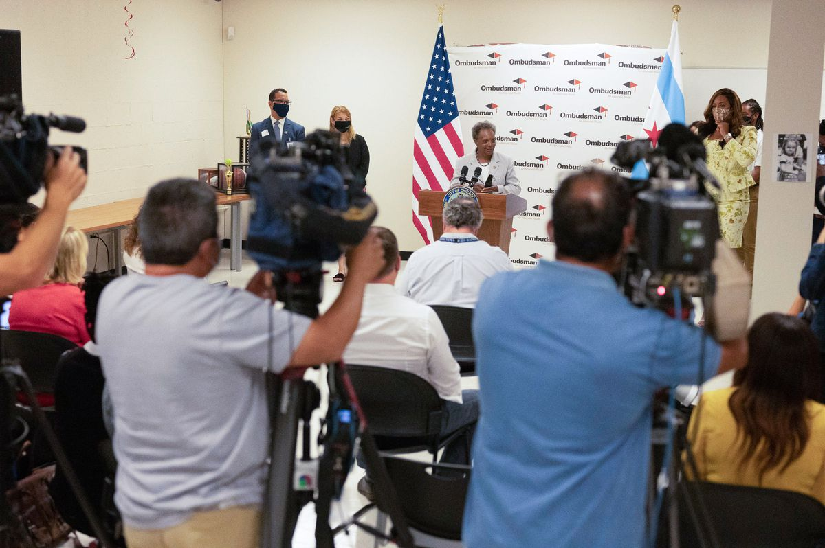 Mayor Lori Lightfoot and Interim CEO Jose Torres hold a press conference at Ombudsman High School.