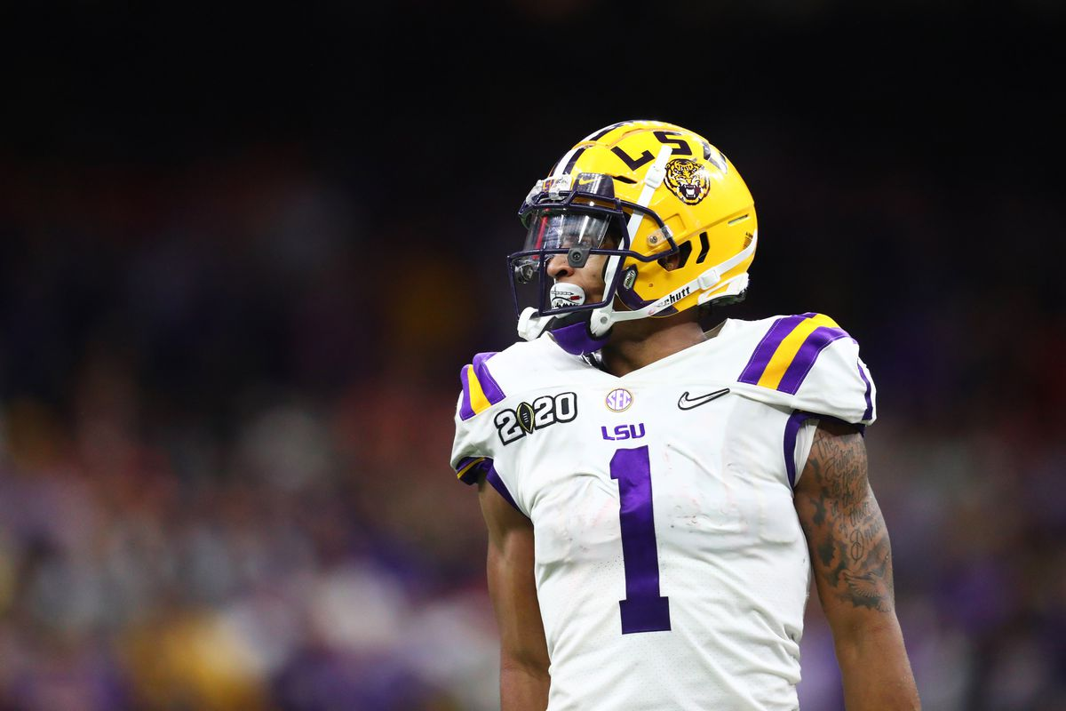 LSU Tigers wide receiver Ja'Marr Chase against the Clemson Tigers in the College Football Playoff national championship game at Mercedes-Benz Superdome.