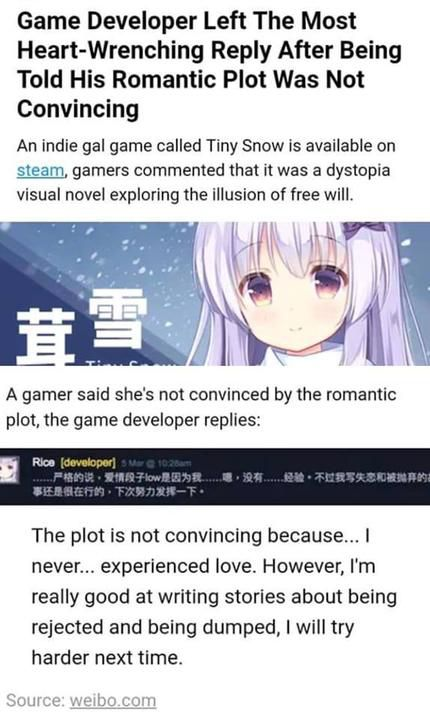 screenshot of Tiny Snow developer saying 'I never... experienced love'