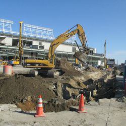 Excavation work in the northwest corner of the triangle lot -