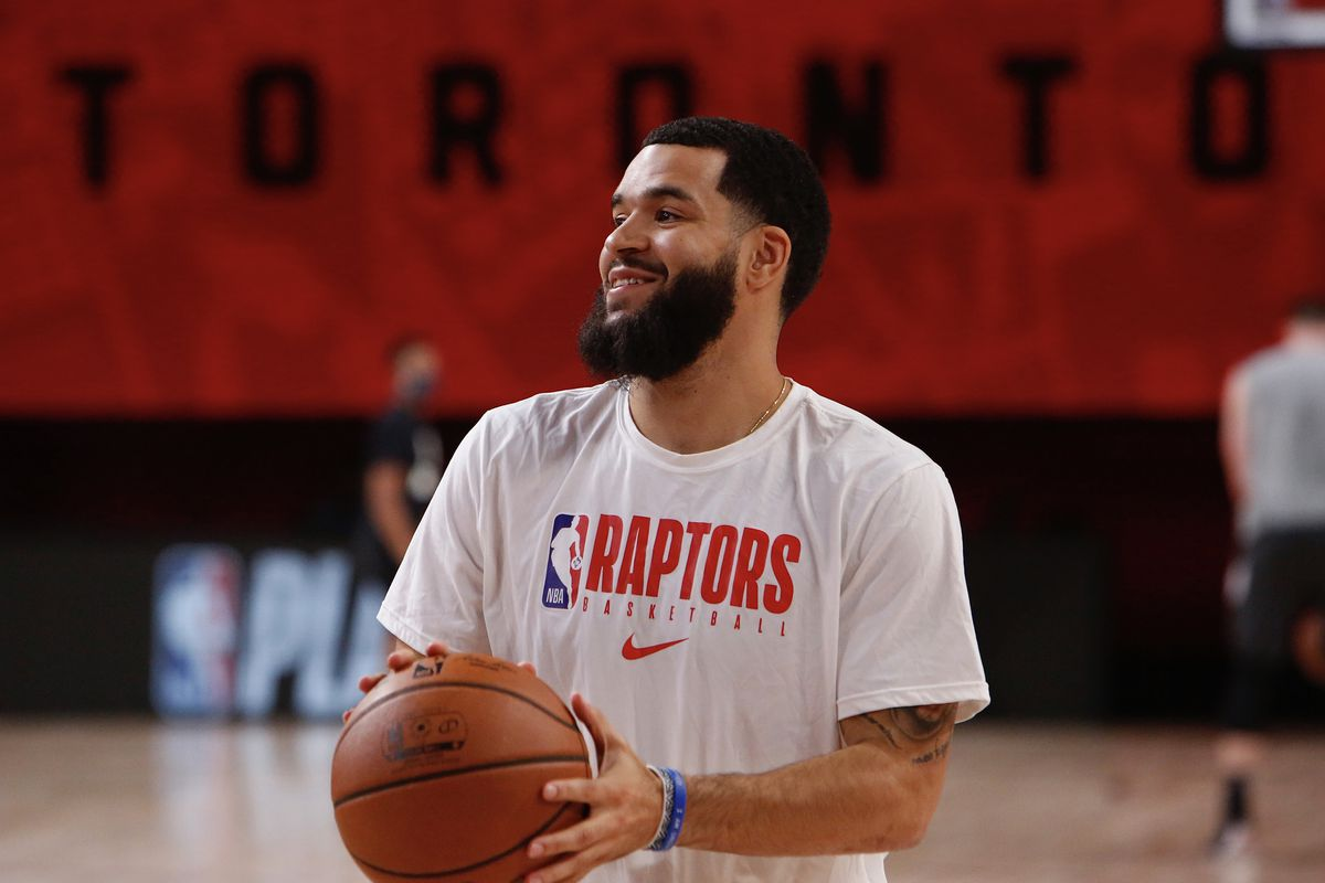 Fred VanVleet of the Toronto Raptors warms up for the game against the Boston Celtics in Game seven of the second round of the 2020 Playoffs as part of the NBA Restart 2020 on September 11, 2020 at AdventHealth Arena at ESPN Wide World of Sports Complex in Orlando, Florida.