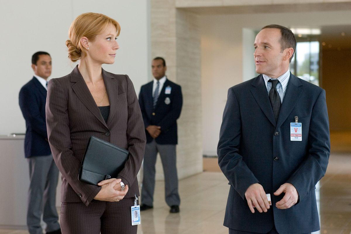 Pepper Potts and Agent Coulson in Iron Man