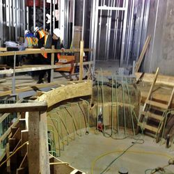 The baptismal font under construction in the Provo City Center Temple.