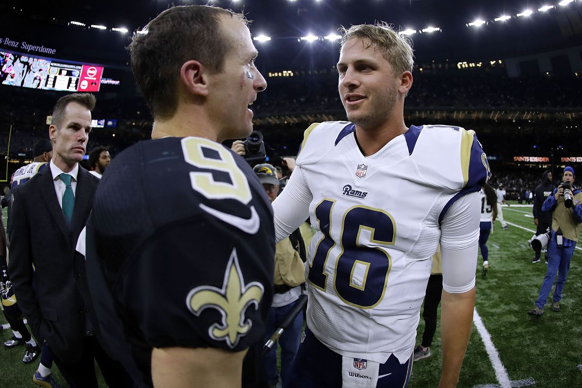New Orleans La November  Drew Brees  Of The New Orleans Saints And Jared Goff  Of The Los Angeles Rams Greet After A Game At The Mercedes Benz
