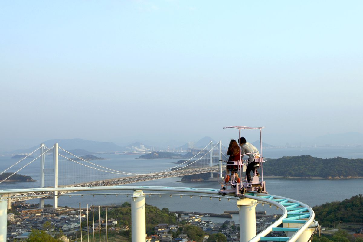 Pedal Powered Sky Cycle Roller Coaster Attract Visitors