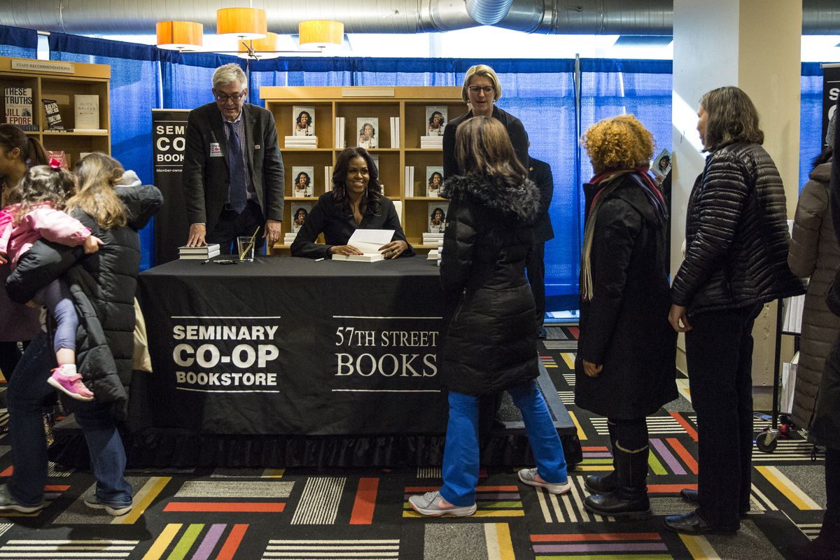 Michelle Obama meets fans in Chicago as her national book tour kicked off Tuesday, Nov. 13, 2018, at Seminary Co-op Bookstore in Hyde Park. (Ashlee Rezin/Chicago Sun-Times)
