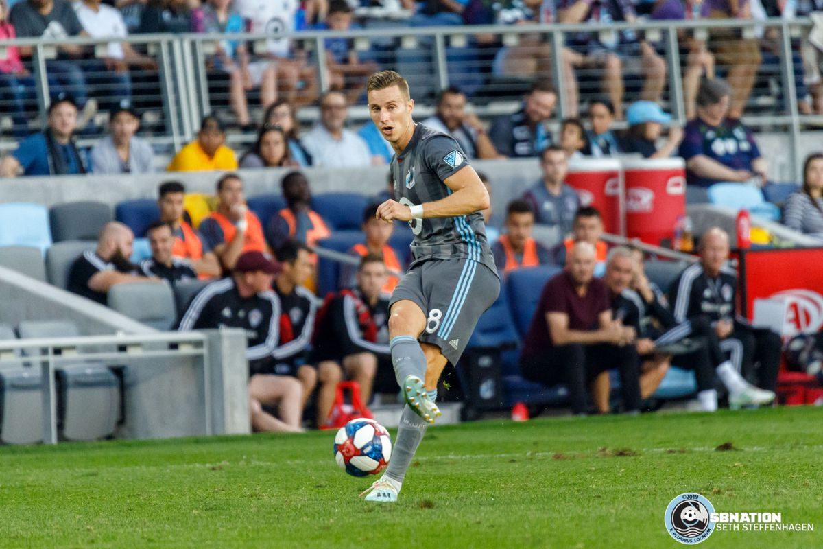 August 14, 2019 - Saint Paul, Minnesota, United States - Minnesota United midfielder Ján Greguš (8) passes the ball during the match against the Colorado Rapids at Allianz Field.